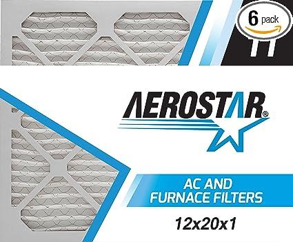 aerostar 12x20x1 merv 11, pleated air filter, 12x20x1, box of 6 ...