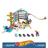 Hot Wheels City Mega Garage avec Lumières et Sons, coffret de jeu pour petites voitures avec circuit et pistes, Jouet pour enfant, CMP80
