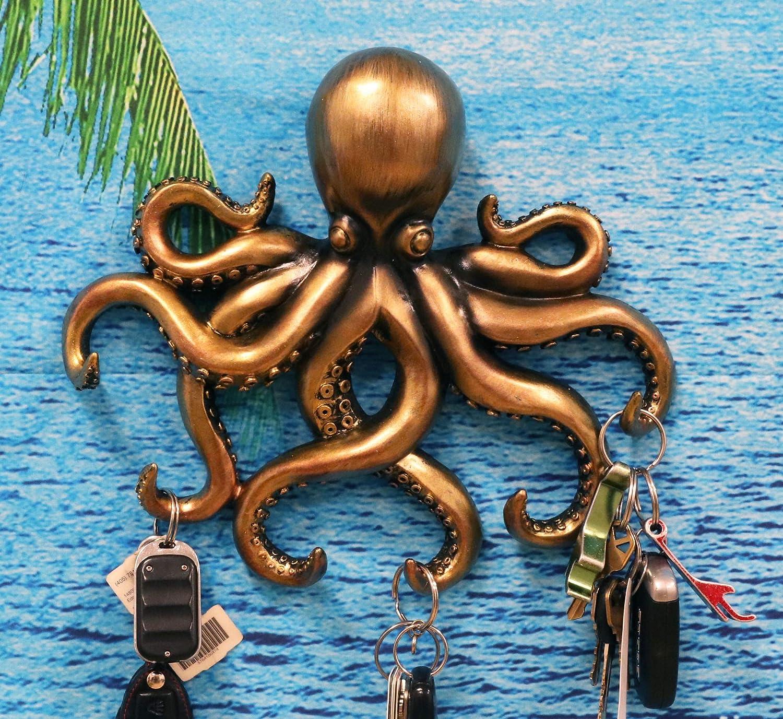 Handamde Squid Arm Key Holder Octopus Tentacle Keychain in Pewter