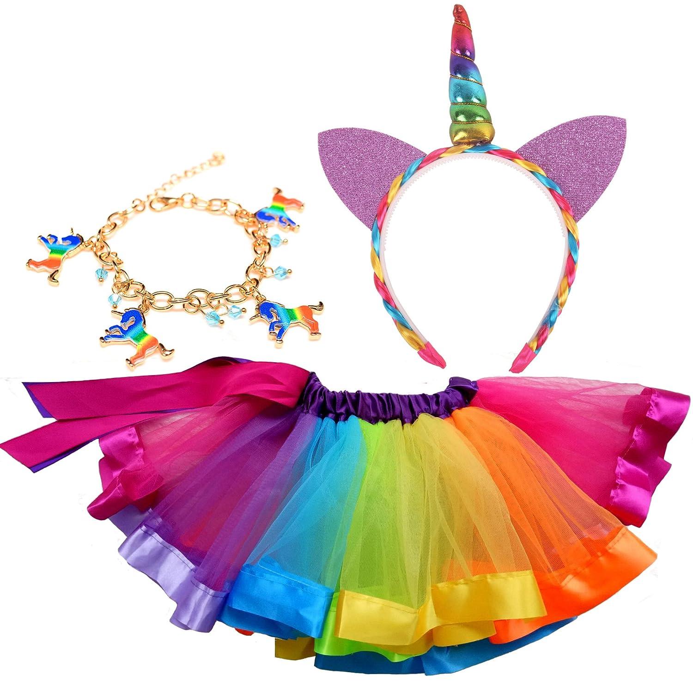 Costume costume arcobaleno, set costume bambina 3-in-1 - gonna tutu arcobaleno, copricapo carnevale di Natale unicorno palla (L (6-8 anni))