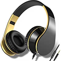 Headphones, Splaks Wired Microphone Noise Isolation Earphones HiFi Stereo Headset Heavy Deep Bass Foldable Headset with Mic and Soft Memory-Protection Earmuffs for iPhone, iPad, Samsung, Laptop (Black/Gold)