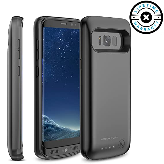 low priced 274a6 1aba4 Galaxy S8 Battery Case, Press Play Charging Battery Pack for Samsung Galaxy  S8-4500mAh Extended Battery Fast Charger Protective Case Power Juice Bank  ...