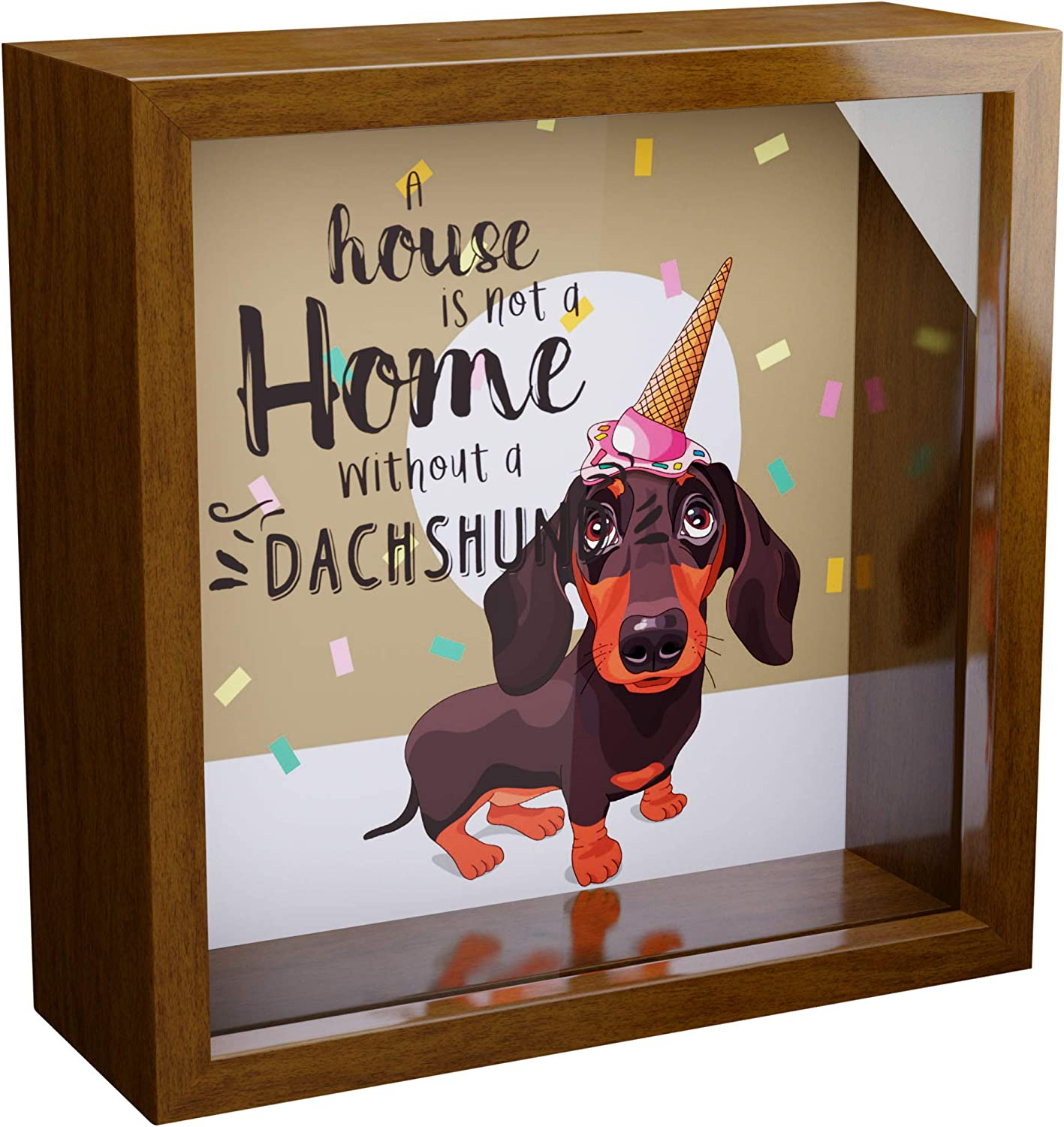 Dachshund Wall Decor Gifts | 6x6x2 Memorabilia Shadow Box | Wiener Dog Keepsake Frame with Glass Front | Dachshunds Themed Decorations for Home | Wooden Gift for Wiener Dogs Lovers