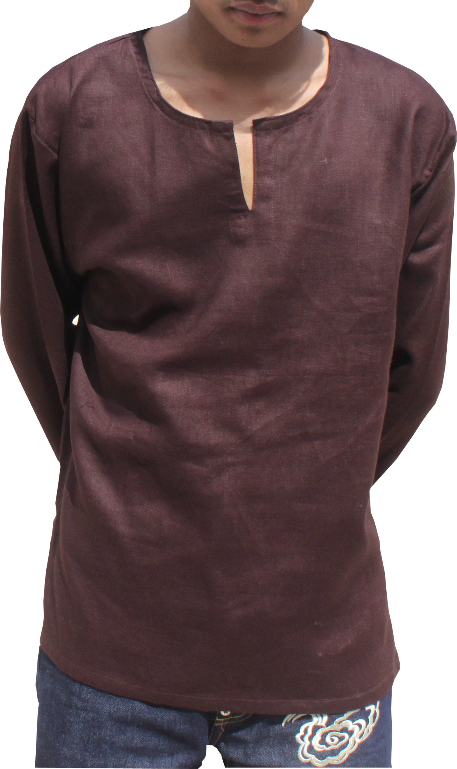 RaanPahMuang Linen Ultra Thin Gauze Summer Shirt With Open Rounded Collar, X-Large, Dark Brown by Raan Pah Muang
