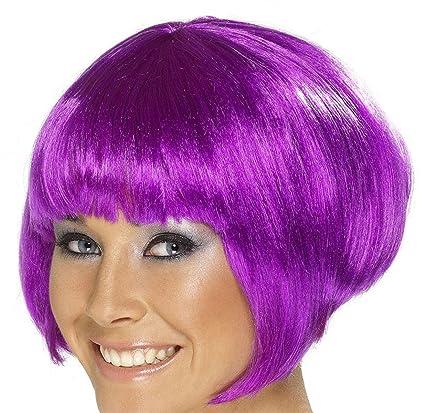 Smiffys Peluca corta color violeta para mujer