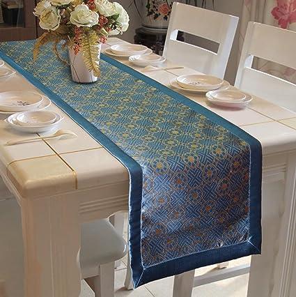 Lushomes Light Blue Jacquard Design 2 Table Runner Polyester Border (Size: 16