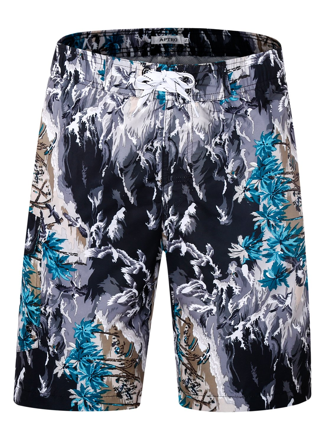 APTRO Men's Quick Dry Board Shorts Printed Palm Beach Swim Wear