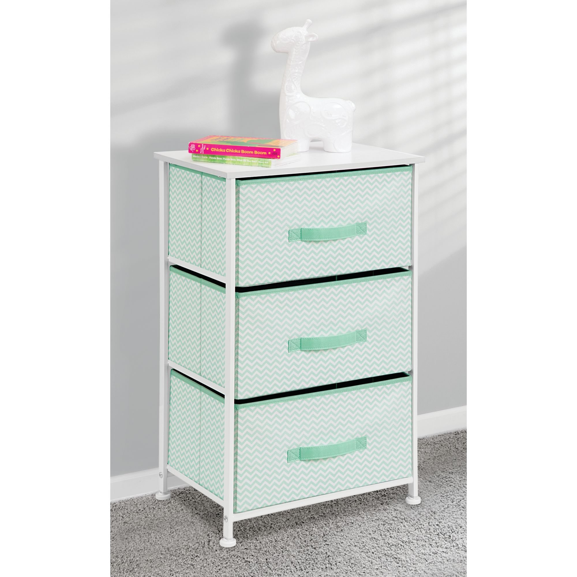 mDesign Vertical Dresser Storage Tower - Sturdy Steel Frame, Wood Top, Easy Pull Fabric Bins - Organizer Unit for Bedroom, Hallway, Entryway, Closets - Chevron Print - 3 Drawers, Mint/White by mDesign (Image #2)