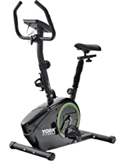 York Fitness Exercise Bike - Fitness Bike Spin Bike Home Trainer and Ideal Cardio Trainer - Sporting Gym Bike Equipment Cycle Trainer - Built-In Workout Programmes - Black/Green