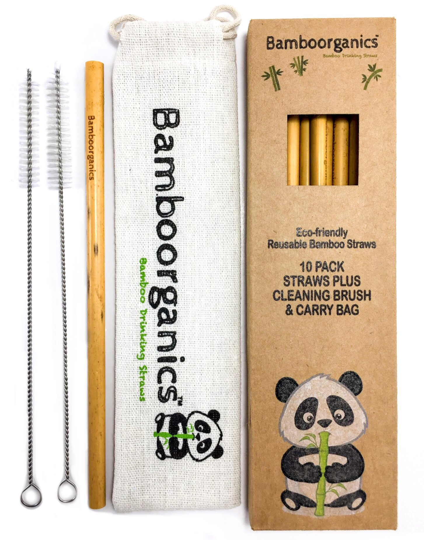 Zero Waste, Reusable, Premium Bamboo Drinking Straws & Natural Cotton Travel Bag | Large Mouth Straw Set of 10 with 2 Cleaning Brushes | Eco-Friendly, Biodegradable | 8in Long by Bamboorganics (Image #2)