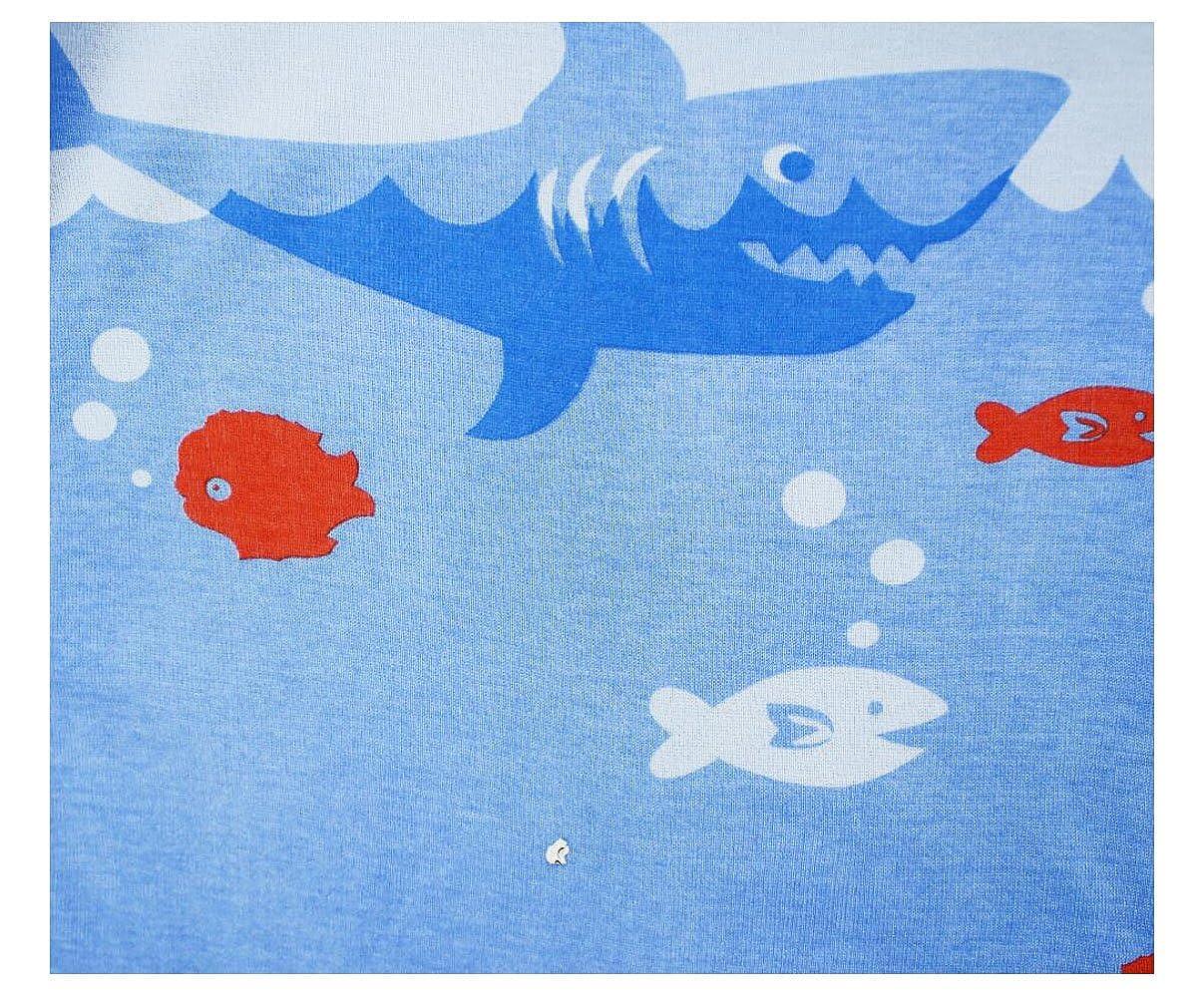 Gold treasure Little Kids Sleepwear Long Sleeve Pajama Set with Cartoon Ocean Shark-Hunting