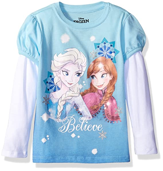 Amazon Disney Little Girls Toddler Frozen Elsa Anna Believe L S 2 Fer T Shirt Blue White 5T Clothing