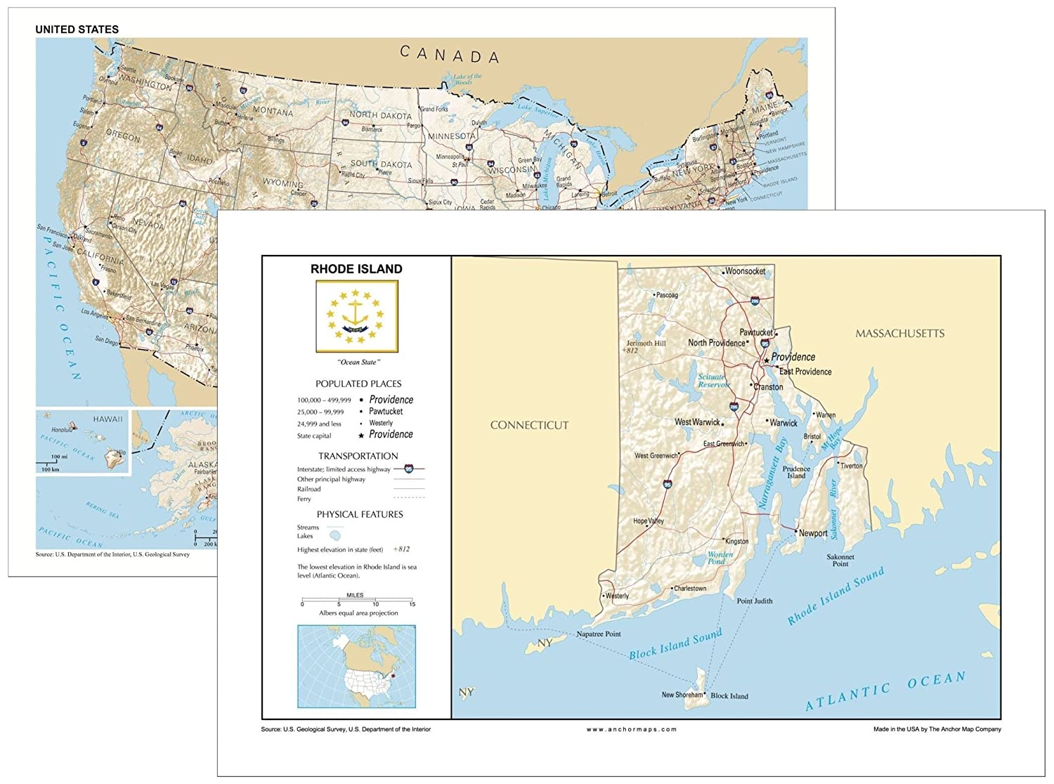 Amazon.com : 13x19 Rhode Island and 13x19 United States ...