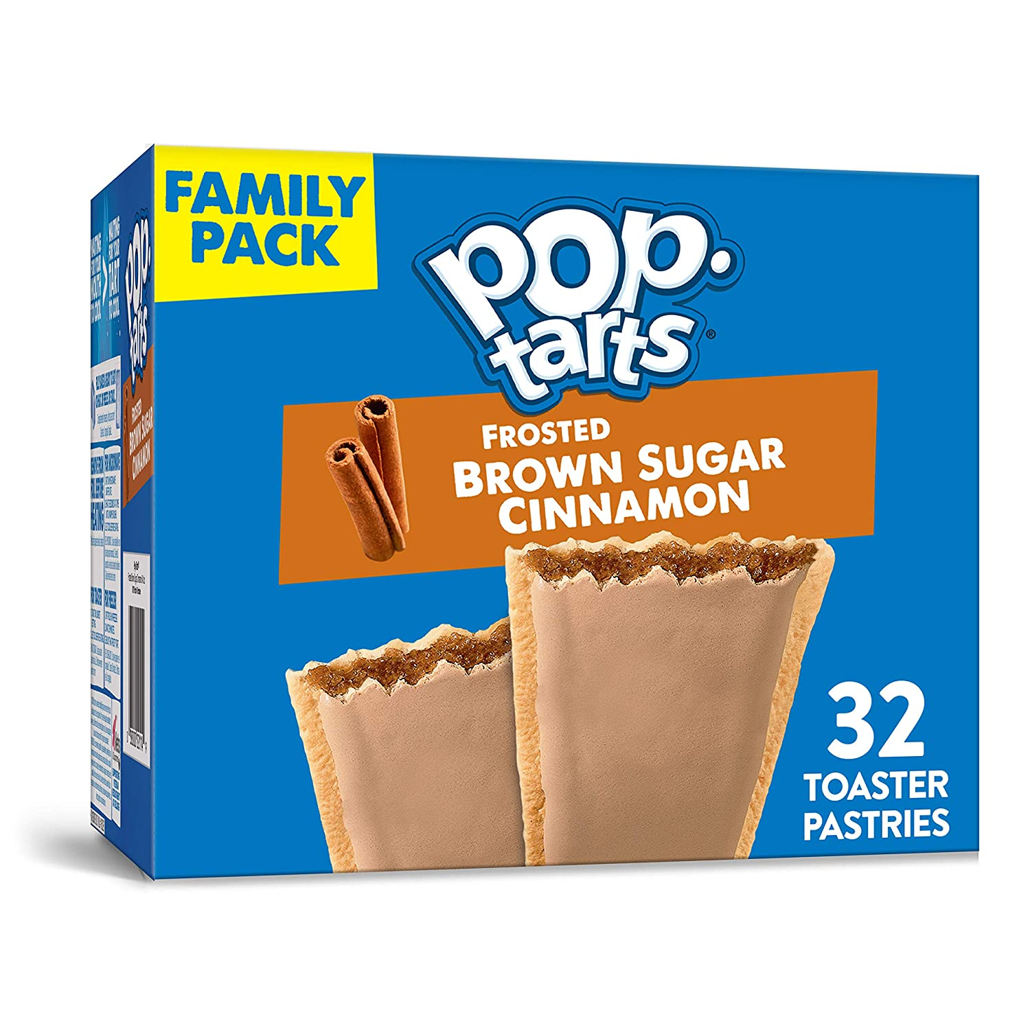 Kellogg's Pop-Tarts Frosted Brown Sugar Cinnamon - Toaster Pastries Breakfast for Kids, Family Pack (32 Count)