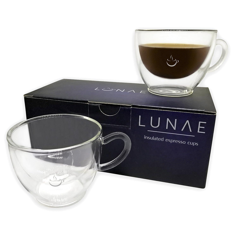 Glass espresso coffee cups uk - Lunae Espresso Cups Double Walled Coffee Glass 80ml Set Of 2 Amazon Co Uk Kitchen Home