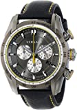 """Versace Men's VDB020014""""V-Ray"""" Stainless Steel Watch with Black Genuine Leather Band"""