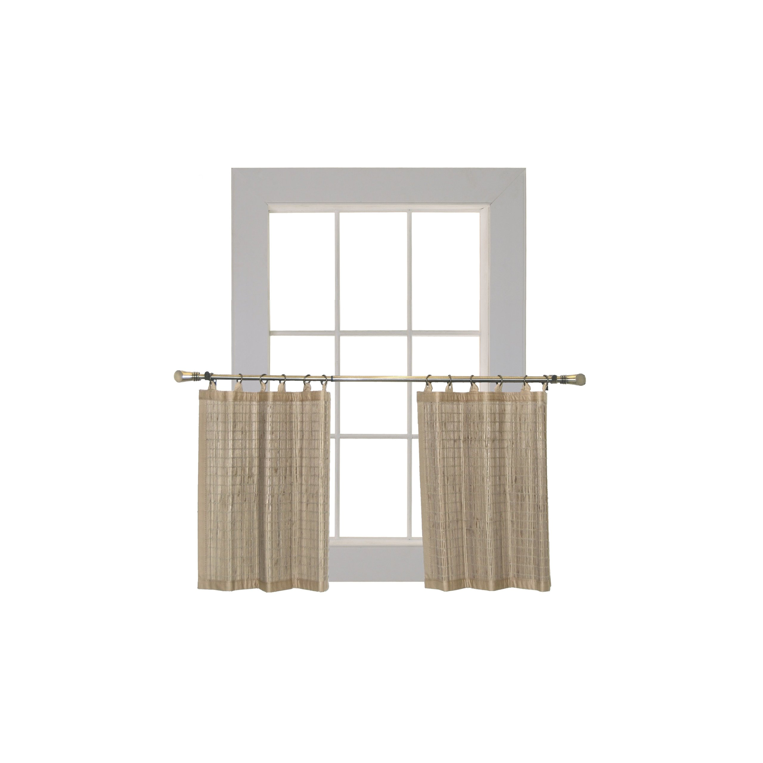 Bamboo Ring Top Curtain Ring Top Tier Set, 48 by 24-Inch L x H, Driftwood by Bamboo