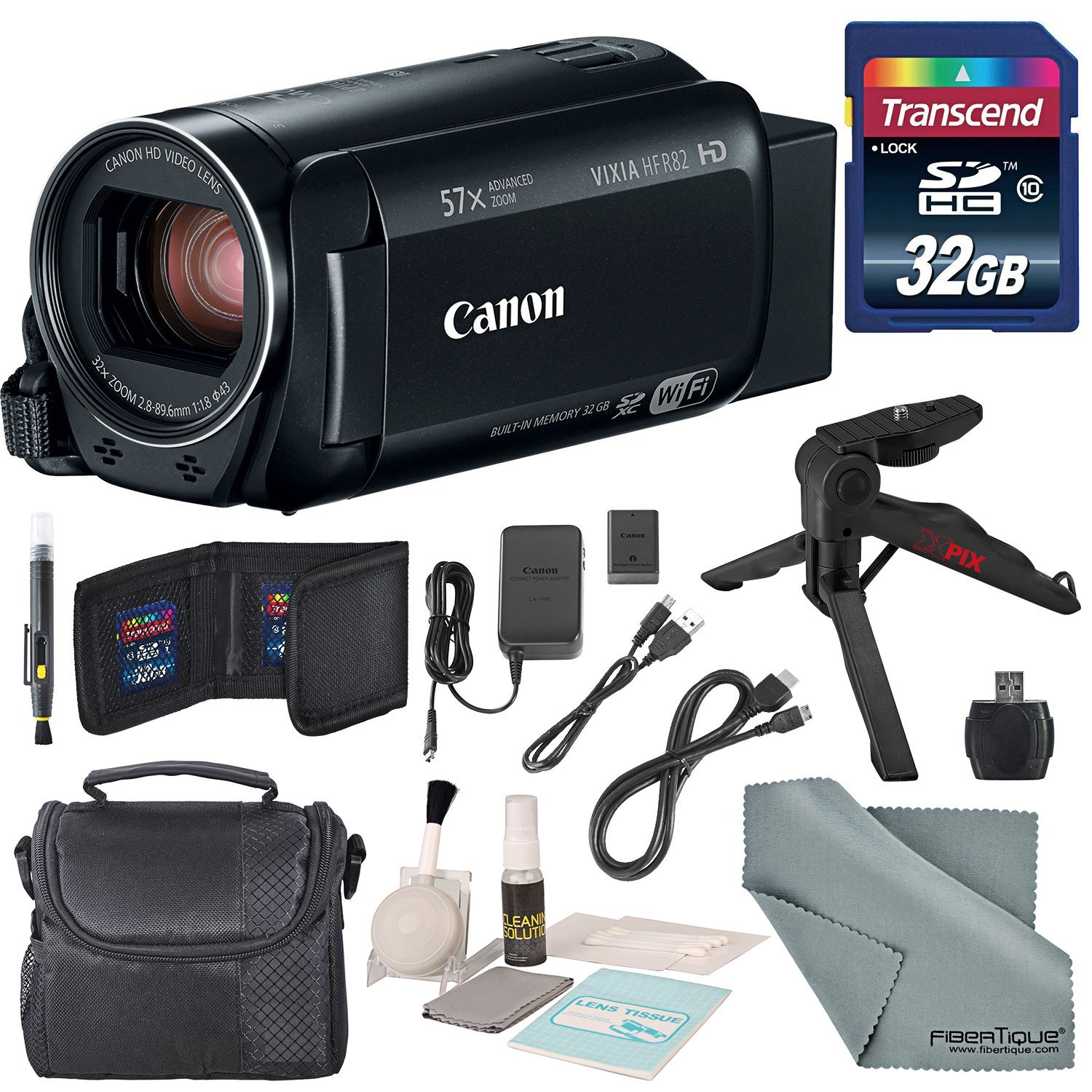 Canon Vixia HF R82 HD Camcorder Bundle w/ 32GB SD Card, Table Tripod, Camcorder Case, Cleaning Accessories, and Fibertique Cleaning Cloth by Canon
