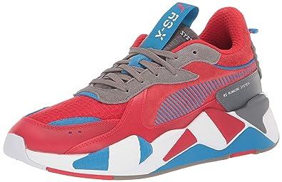 7f090bc2e PUMA Men's RS-X Sneaker, High Risk red-Steel Gray-Indigo Bunting