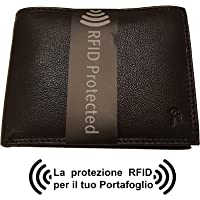 Portafoglio uomo, PROTEZIONE RFID, nero, in vera pelle, formato classico orizzontale con porta carte di credito