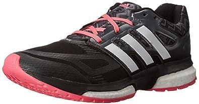 adidas Performance Women s Response Boost Techfit Running Shoe Core Black/Running  White/Neon