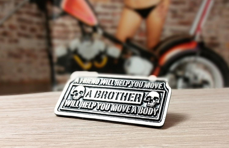 Daywalker Bikestuff Biker pion Brotherhood Motorrad Chopper Zinn Spruch Zwei Nadeln Lederweste Kutte
