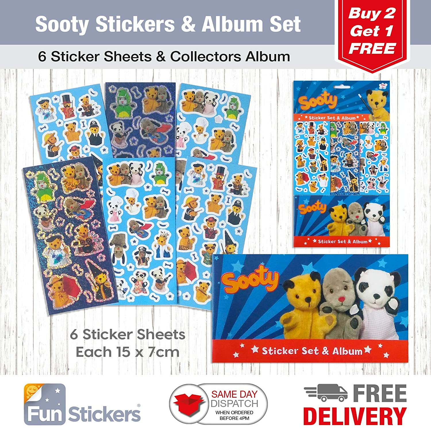 Sooty Stickers, 6 Sheets, Each sheet 14 x 7cm with Sticker Album Funstickers
