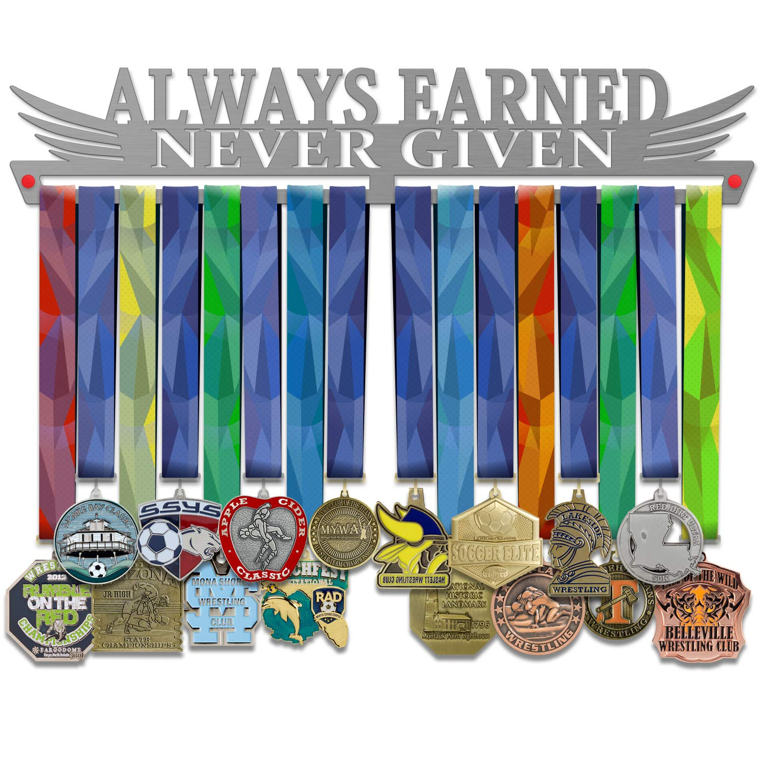 VICTORY HANGERS メダルディスプレイ 「Always Earned Never Given」メダルハンガー B07Q382Z6V  17.72 インチ