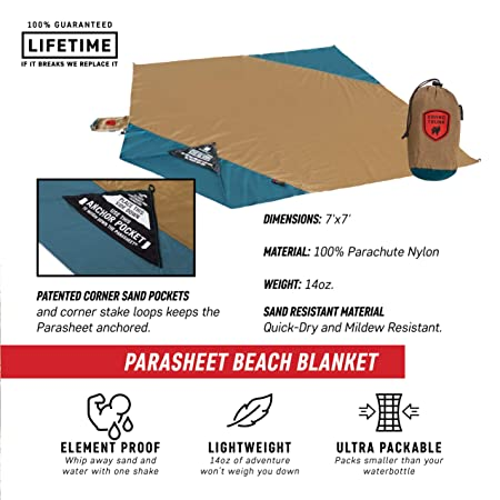 Grand Trunk Parasheet Beach Blanket or Picnic Blanket with Patented Sand Anchor Pockets, Stake Loops, and Attached Stuff Sack Best Beach Blanket for Outdoors