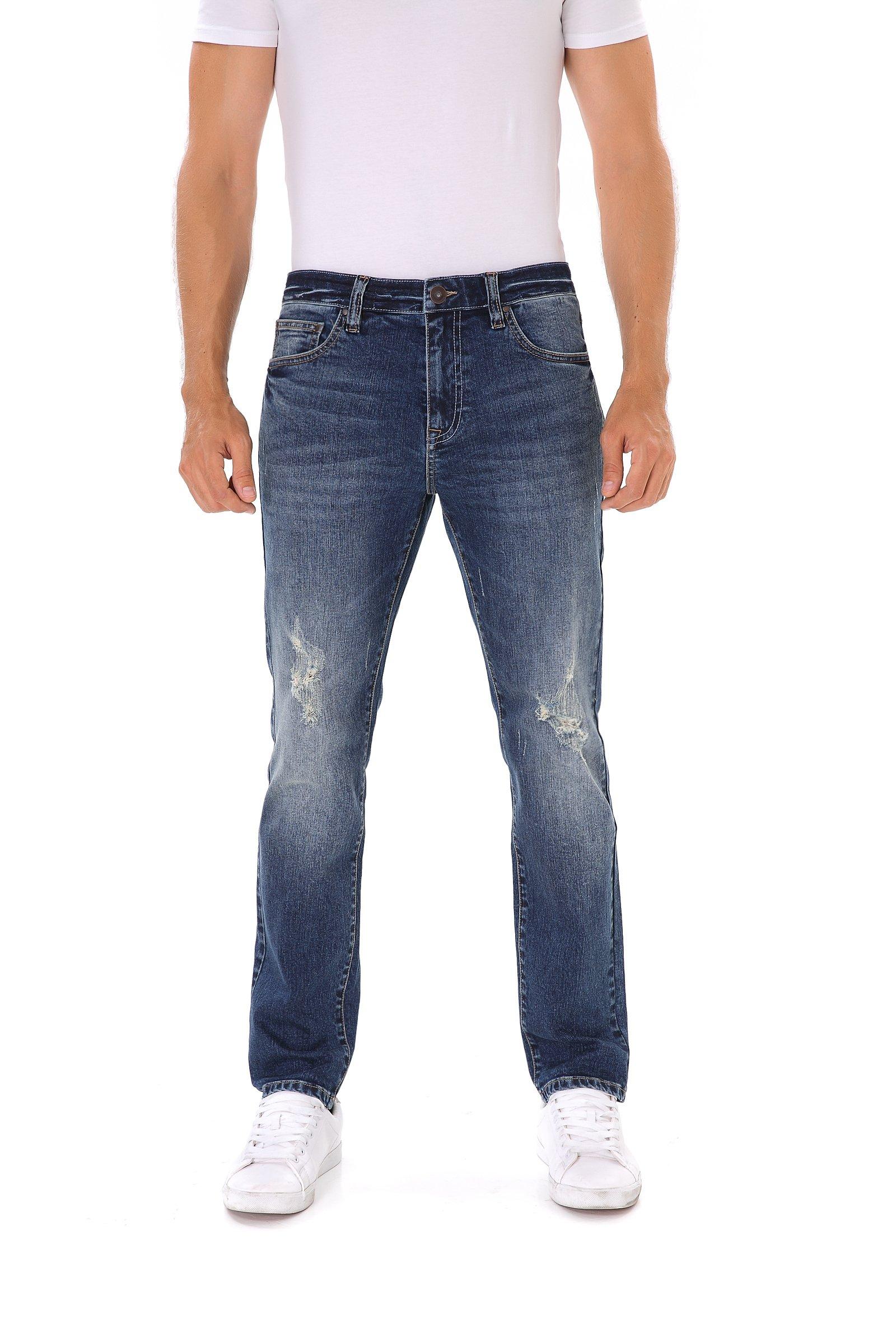 Indigo alpha Slim Fit Blue Ripped Distressed Destroyed Faded Stretchy Denim Jeans for Men (8017,W34/L30)
