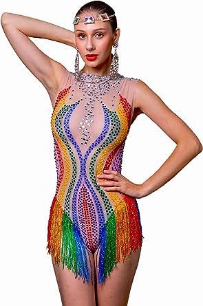 Charismatico Crystallised Rainbow Gay Pride LGBT Leotard with Fringe Bottom