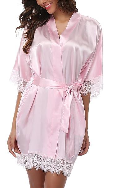 Giova Women s Lace Trim Kimono Robe Nightwear Nightgown Sleepwear Satin  Short Robe Baby Pink Small 0af9e86860