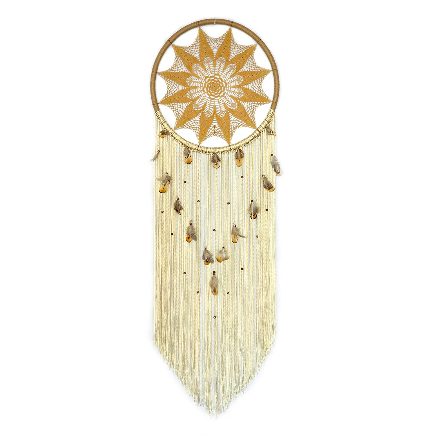 Amazon Com Large Yellow Mustard Dream Catcher With Feathers And