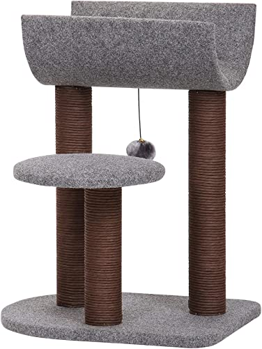 PetPals Cat Tree Cat Tower for Cat Activity with Scratching Postsand Toy Ball,Gray Perch