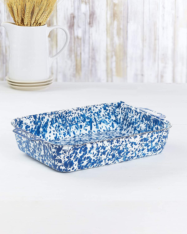 Enamel Coated Metal Bakers Dish - Stylish Speckled Paint Scheme - Blue