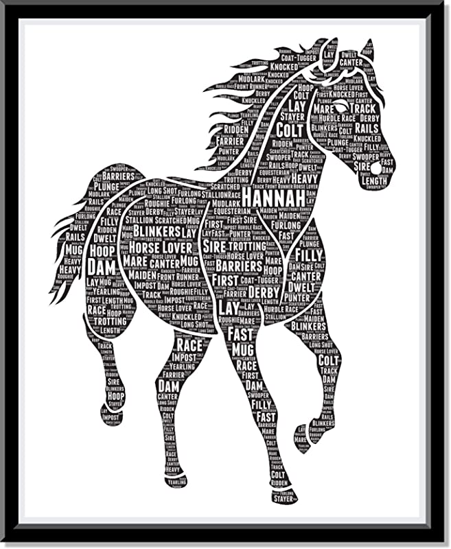 Personalized Horse Lover - Equestrian Gift Word Art Wall Room Decor Prints, Typography Custom HorseRider Birthday gifts for Girls and HorseOwners…