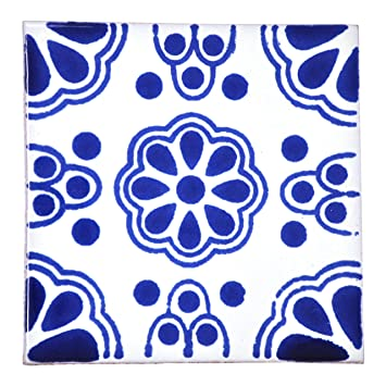 Ceramic Mexican Tile Handmade and Ethically Traded by Tumia LAC 10.5cm 10 Pack