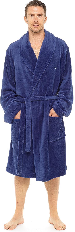 INSIGNIA Mens Luxury Fleece Logo Dressing Gown Robes Wrap Loungewear HT501MM
