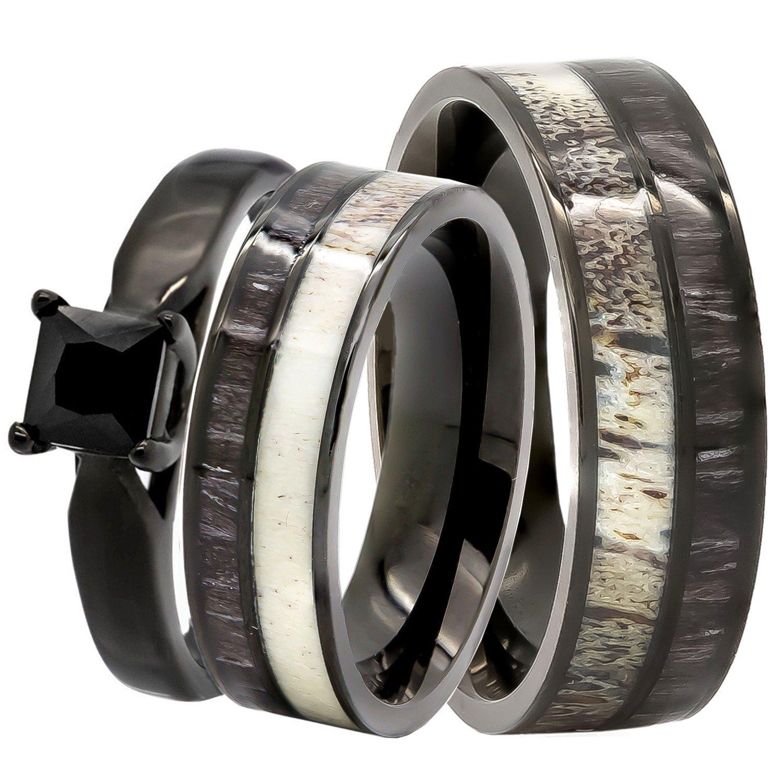 3 pc His /& Hers Natural 1.25 ct Genuine Spinel Deer Antler Black Koa Wood Surgical Black Stainless Steel Engagement Wedding Rings set Kingswayjewelry KJ-503