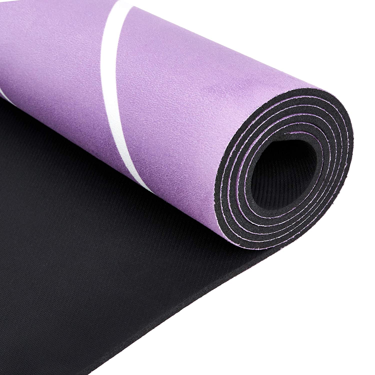 AmazonBasics Rubber & Suede Yoga Mat, Purple 0.16""