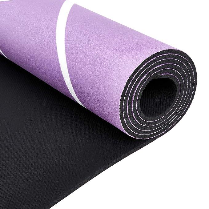 "AmazonBasics Rubber & Suede Yoga Mat, Purple 0.16"""