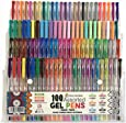 Gel Pens - 100 Value Pack of Assorted Colours from Colour Me Best. Includes 10 Brights, 12 Neon, 16 Neon Shimmer, 16 Pastels, 20 Metallic & 26 Glitter Colours for Adult Colouring Books & Children's Arts and Crafts Projects