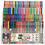 Gel Pens -100 Value Pack of Assorted Colours Includes 10 Brights, 12 Neon, 16 Neon Shimmer, 16 Pastels, 20 Metallic & 26 Glitter Colours for Adult Colouring Books & Children's Arts and Crafts Projects