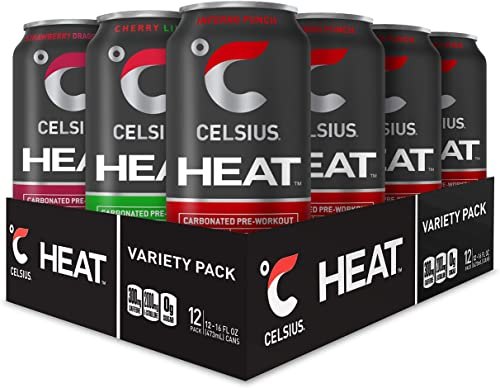 CELSIUS HEAT Performance Energy Drink 3-Flavor Variety Pack 3, ZERO Sugar, 16oz. Can, 12 Pack