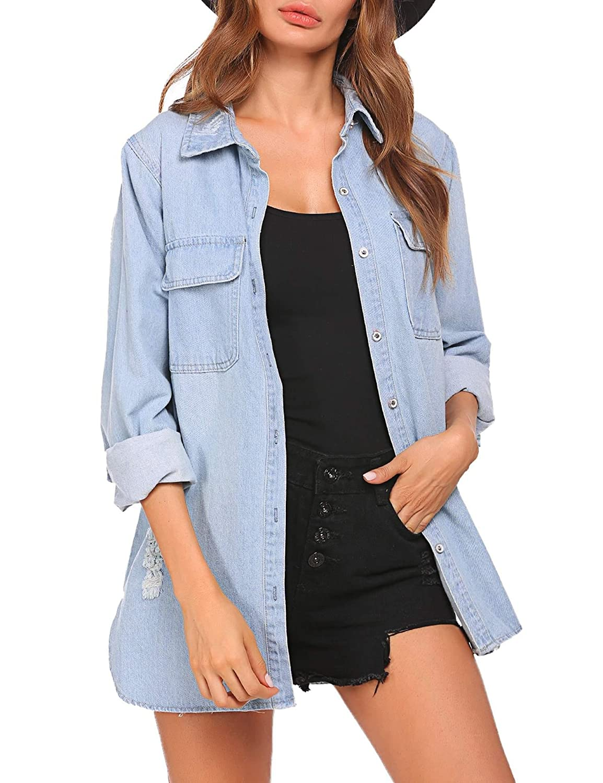 Womens/' Plus Size Button Fly Denim Jacket Long Sleeve Turn-Down Collar Jean Coat