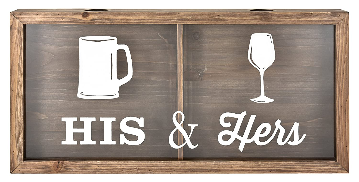 "MCS Bar None His & Hers Wine Cork & Beer Cap Wall Art 20""X10"" Brown"