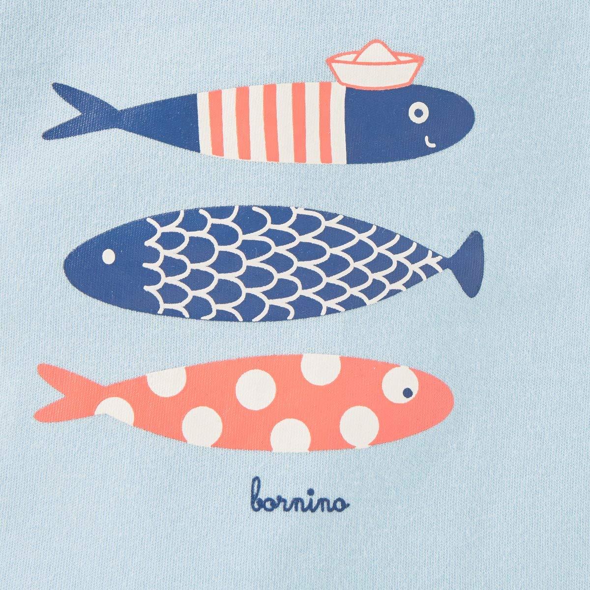 Bornino Seaside T-Shirt Fische hellblau kurz/ärmeliges Baby-Oberteil aus Reiner Baumwolle mit Druckkn/öpfen an der Schulter /& Tier-Print