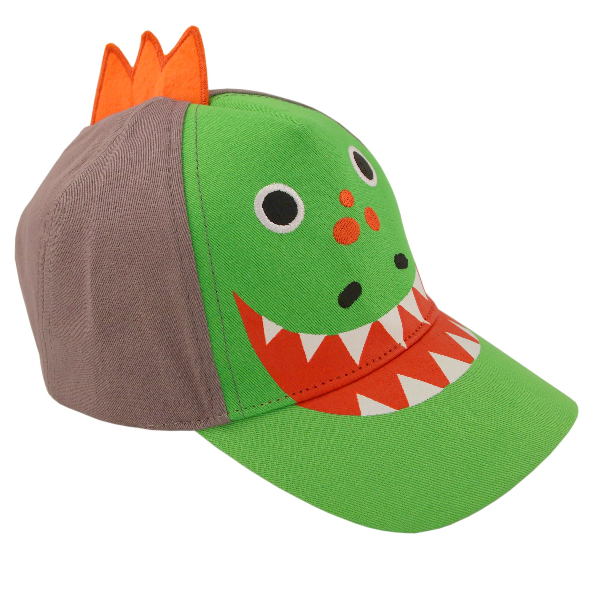 ABG Accessories Toddler Boys Cotton Baseball Cap with Assorted Animal Critter Designs, Age 2-4 (Dinosaur Design – Green/Grey) by ABG Accessories (Image #5)