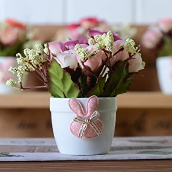 Amazon artificial flowers yiting plant rose indoor potted silk artificial flowers yiting plant rose indoor potted silk flower 6 6 145cm purple mightylinksfo