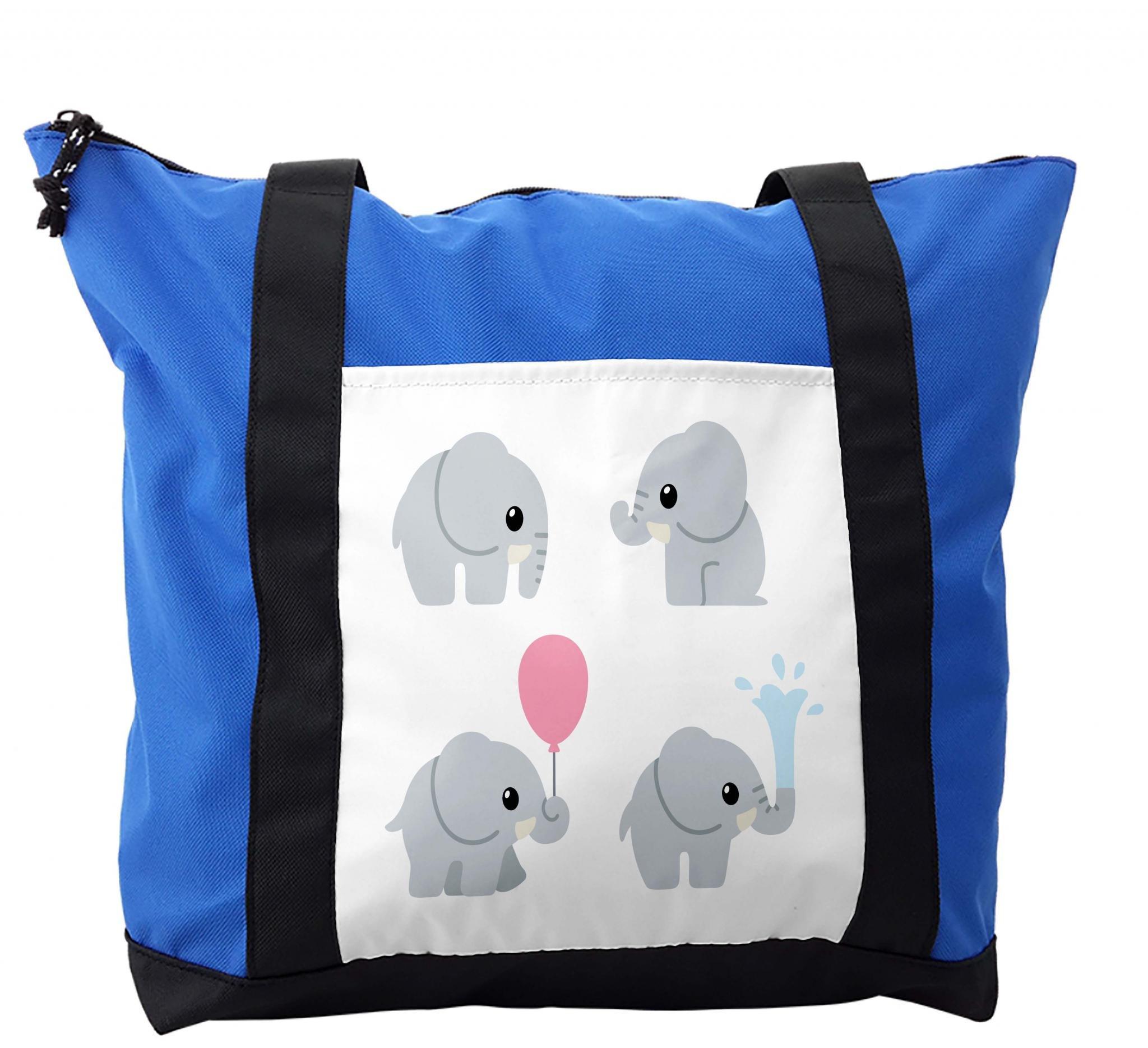 Lunarable Baby Shower Shoulder Bag, Cute Elephants Balloon, Durable with Zipper